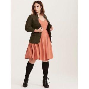 Torrid Rust Textured Knit Open Back Skater Dress